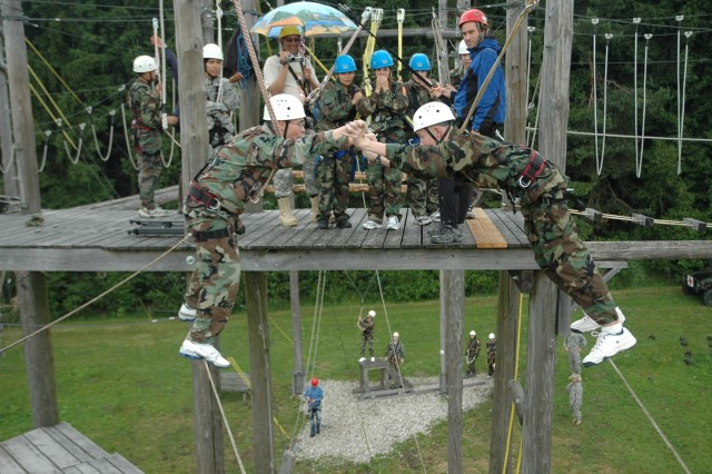 Air Force Cadet Devin Johnson, Bitburg HS, and Army Cadet Trenton Floyd, Heidelberg HS, negotiate a tricky high wire obstacle 30 feet off the ground at the High Ropes Course in Taennesberg, Germany. The cadets are attending the 2008 DoDDS-Europe Army JROTC Cadet Leadership Challenge in Grafenwoehr, Germany.