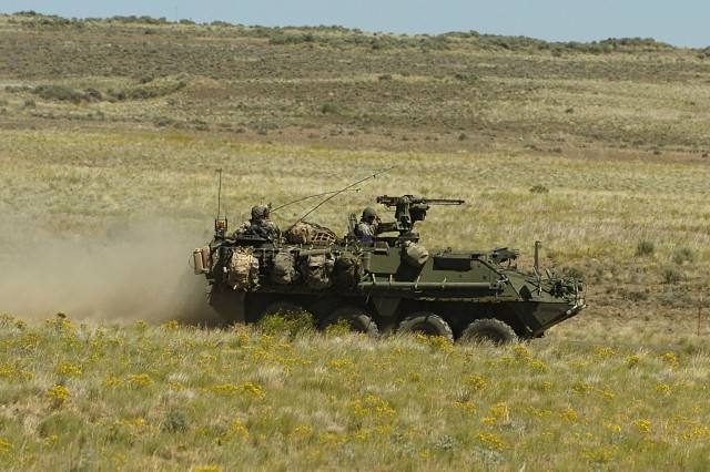 A Stryker from 3rd Plt., A Co., 1-17 Inf. maneuvers at the MPTR, Yakima Training Center, during a platoon live-fire exercise.