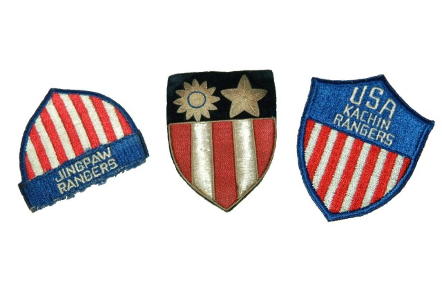 Sergeant Joseph M. Straub served with OSS Detachment 101 in Burma and saved these shoulder sleeve insignia of the Jingpaw and Kachin Rangers.  For obvious reasons, OSS Soldiers wore the patch of their higher command, in Straub's case the China-Burma-India Headquarters patch in the center (Army Heritage Museum Collection).