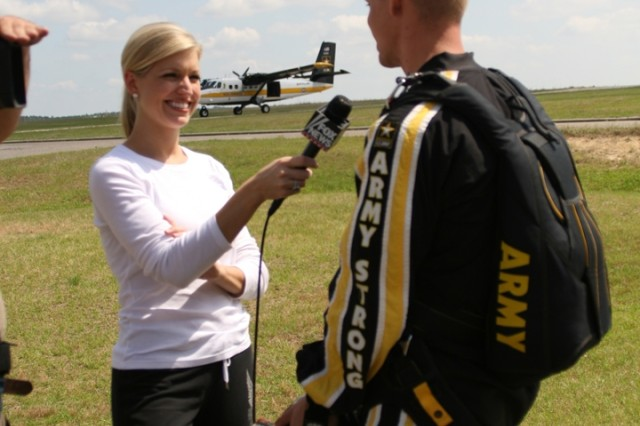 Ainsley Earhardt interviews SSG Joe Abeln for her show segment Ainsley Across America, which aired on Hannity's America. Ainsley met with the U.S. Army Parachute Team-The Golden Knights during a recent visit to Ft. Bragg, North Carolina.