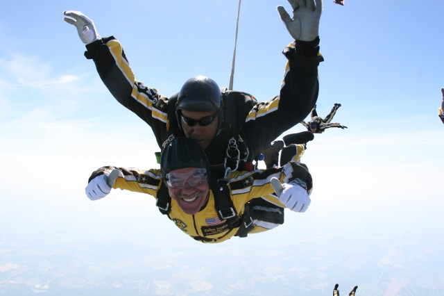 Geraldo Rivera in free fall with the U.S. Army Parachute Team, the Golden Knights. Pictured with Rivera is SFC Mike Elliott.