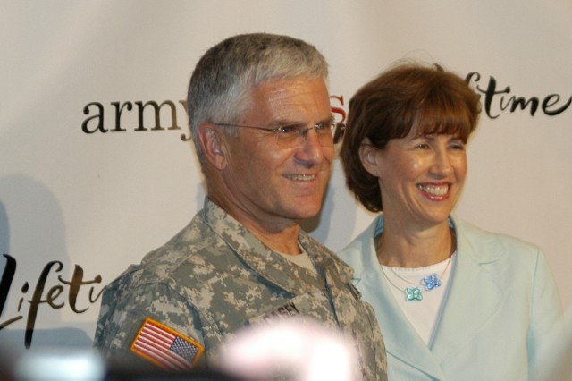 "Army Chief of Staff Gen. George W. Casey Jr. and his wife Sheila speak with Warriors in Transition during a screening of the Lifetime series ""Army Wives"" series at Walter Reed."