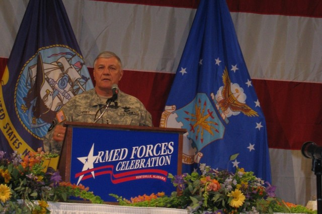 Gen. Richard Cody, the Army's vice chief of staff, thanks Huntsville and the communities of the Tennessee Valley for their support of Soldiers and their families during the Armed Forces Celebration Salute Dinner on June 25 in the Von Braun Center's North Hall.