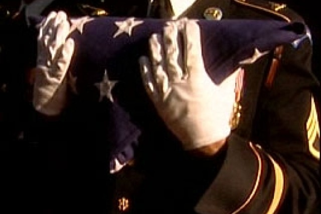 American Soldiers defend the red, white and blue.   In addition to doing that, the Honor Guard folds it.