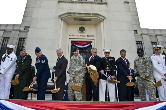 """President George W. Bush and other Defense Department officials lead the ground breaking for the Walter Reed National Military Medical Center held at Bethesda Naval Hospital in Bethesda, Md., July 3, 2008.  <b>Related Article: <a href=""""http://www.defenselink.mil/news/newsarticle.aspx?id=50405"""" target=""""_blank"""">Bush Breaks Ground for New Bethesda Military Medical Center</a></b>"""