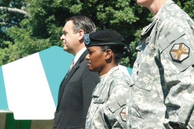 (from left to right) Davis D.Tindoll Jr., reviewing officer and director, Installation Management Command-Southeast Region, stands with Col. Deborah B. Grays, incoming commander, U.S. Army Garrison, Fort McPherson and Fort Gillem, and outgoing commander Col. Marguerite C. Garrison.