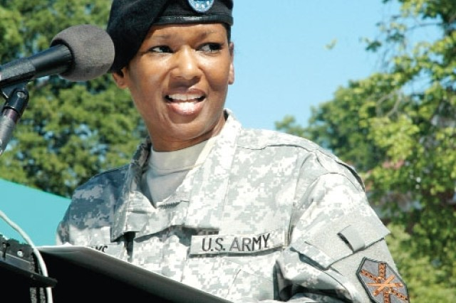 Col. Deborah B. Grays, incoming commander, U.S. Army Garrison, Fort McPherson and Fort Gillem, Ga., addresses the audience during her change of command ceremony.