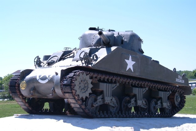 M4A3 Medium Tank, on display on the Army Heritage Trail located at the Army Heritage & Education Center, Carlisle, Pennsylvania.