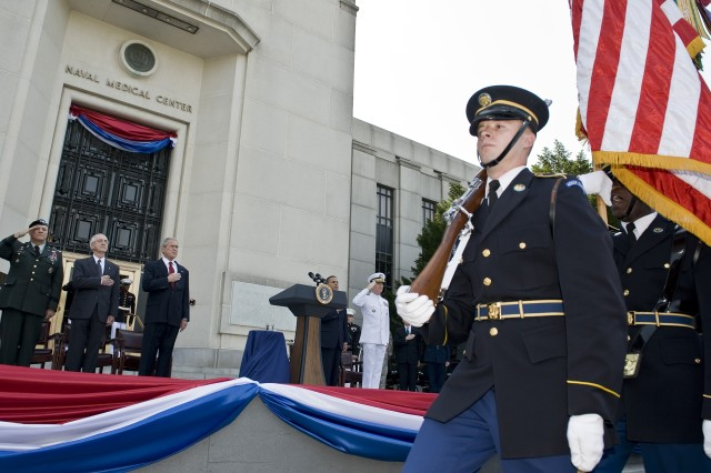 "President George W. Bush, Deputy Secretary of Defense Gordon England and Army Vice Chief of Staff Gen. Richard A. Cody participate in a groundbreaking ceremony for the new Walter Reed National Military Medical Center held at Bethesda Naval Hospital, Md., July 3, 2008. <a href=""http://www.defenselink.mil/news/newsarticle.aspx?id=50405"">click for more</a>"