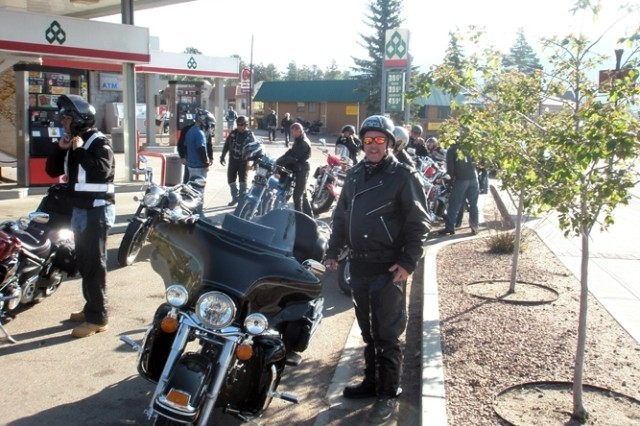 Jim Bearce, one of the Building three engineers, takes a quick break to refuel during U.S. Army Space and Missile Defense Command/Army Forces Strategic Command's 10th Annual Motorcycle Run to Turkey Creek.