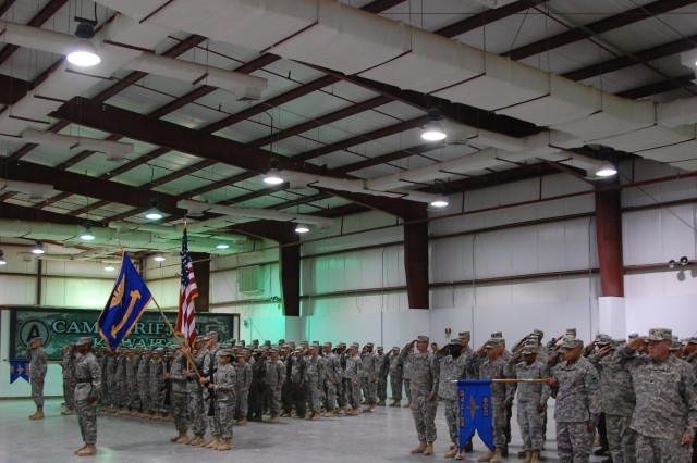 Soldiers of the 1108th and 1109th Aviation Classification Repair Activity Depots stand in formation during a Transfer of Authority ceremony, July 9, 2008 at Camp Arifjan, Kuwait.  The 1109th took responsibility for the Southwest Asia Theater Aviation Maintenance Program.