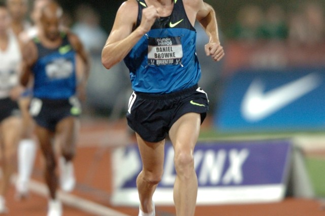 Former U.S. Army World Class Athlete Program distance runner Dan Browne, a 1997 graduate of the United States Military Academy who doubled in the 10,000 meters and marathon at the 2004 Olympics, finishes 14th in the 10,000 meters at the 2008 U.S. Olympic Team Trials for Track & Field in Eugene, Ore.