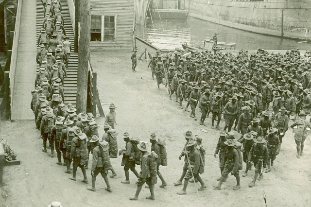 Labor Battalion entering pier ready to board the transport. Sept. 1, 1918.