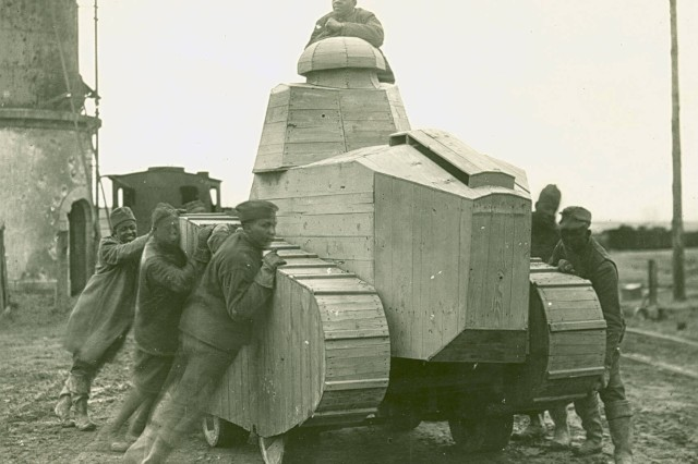 German Dummy Tank made of wood. The Germans employed these tanks as Camouflage. Several were shipped by the 805th Pioneer Infantry from Dun-Sur-Meuse, France. April 6, 1919.