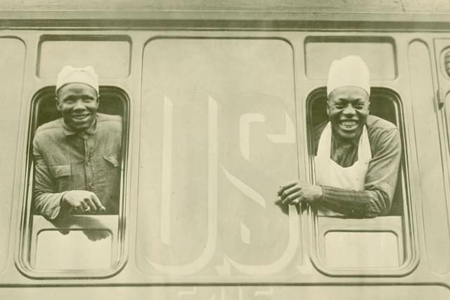 Dining car chefs aboard hospital train No. 54. Horreville, France. April 26, 1918.
