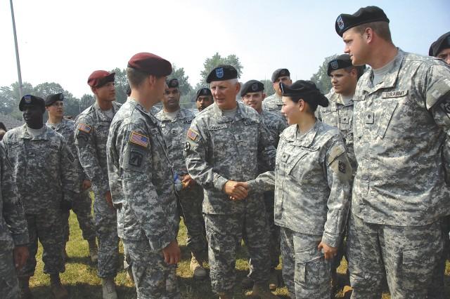 Maj. Gen. James E. Chambers, Combined Arms Support Command and Fort Lee commanding general, shakes hands with Soldiers during the Army Birthday Celebration June 13.