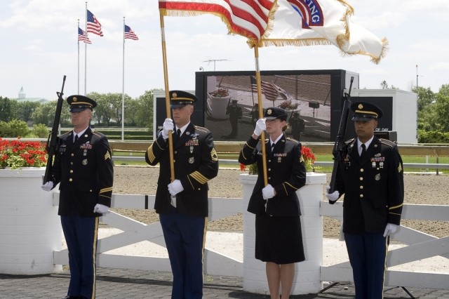 U.S. Army Recruiting Color Guard posts the colors at Arlington Park