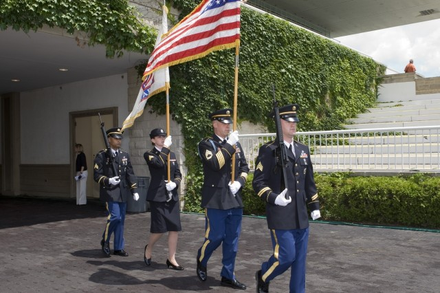 Soldiers from the Chicago Recruiting Battalion, Mount Prospect Recruiting Station, presented the Colors at the Arlington Race Course in Arlington Heights, IL.  The Color Guard was for Arlington's Opening Ceremonies to kick off their 4th of July Weekend Celebration.