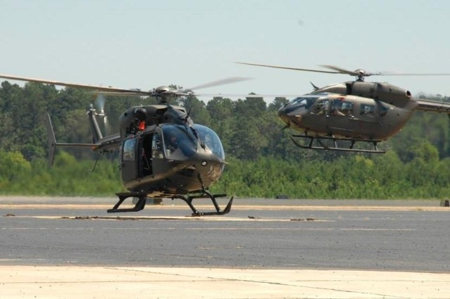 The Louisiana National Guards two new UH-72 Lakotas touch down for the first time at Esler Field in Pineville, La.
