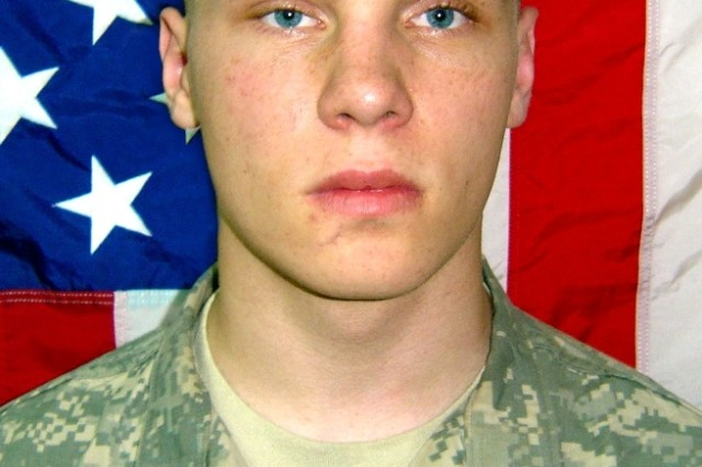Spc. Byron Fouty was posthumously promoted from private first class to specialist with a date of rank of March 8, 2008.