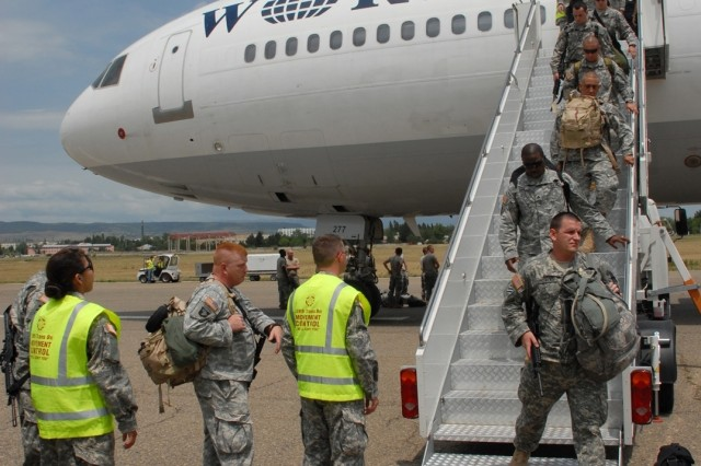 Georgia National Guard Soldiers arrive in Tiblisi, Georgia, in preparation for Immediate Response 2008, an international exercise to help build relationships with coaliton partners from several Eastern European nations.