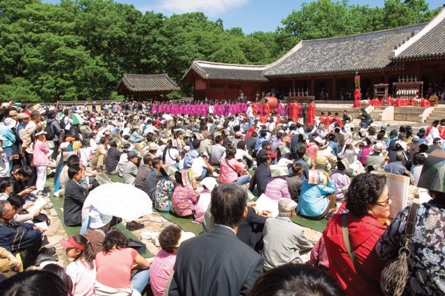 More than 1,500 onlookers watch at the Jongmyo Shrine in Seoul during an annual Korean cultural ceremony.