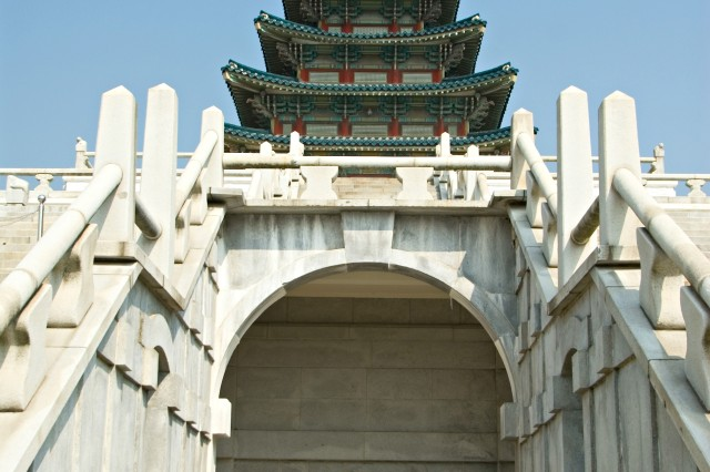The Pagoda building towers above the rest of the Gyeongbok Palace complex.