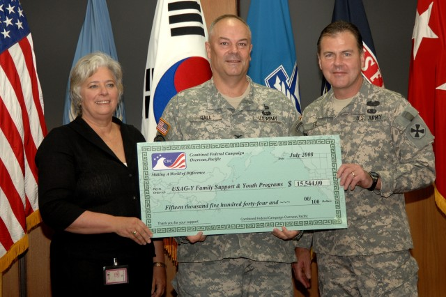 YONGSAN GARRISON, Republic of Korea - Renee Acosta (left) and Lt. Gen. Joseph F. Fil Jr. (right) present USAG-Yongsan Commander Col. David Hall with a check for $15,544 July 14, representing the 2007 Combined Federal Campaign donations Yongsan community members earmarked specifically for family and youth programs. Fil is the U.S. Forces Korea chief of staff. Acosta is chief executive officer of Global Impact, a not-for-profit organization appointed by Department of Defense to manage the CFC-Overseas program.
