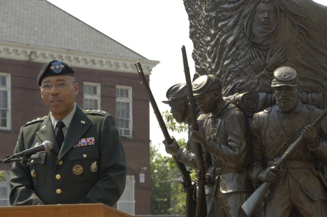 Lt. Gen. Michael D. Rochelle, deputy chief of Staff G-1, delivers a historic message July 18, 2008, reflecting on the strength of success and diversity at the African American Civil War Memorial, which was unveiled 10 years ago in Washington, D.C.