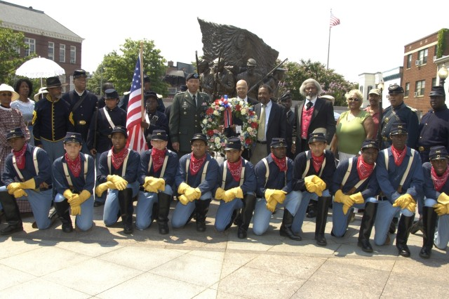 The Civil War Museum provided re-enactors who wore attire of the early years, including uniforms worn by Buffalo Soldiers at the three-day celebration of the 10th anniversary of the African American Civil War Memorial.