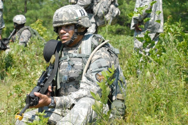 Spc. Marco Garced, U.S. Army Garrison Garmisch, Germany,  takes a break during Installation Management Command Soldier and Noncommissioned Officer of the Year competition. Garced won the IMCOM Soldier of the year title during competition held July 14-17 at Fort AP Hill, Va.