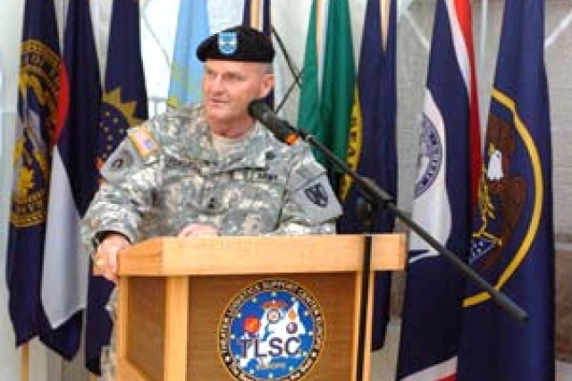 Maj. Gen. Yves J. Fontaine, commander of U.S. Army Europe's 21st Theater Sustainment Command, speaks at a celebration of the 10th anniversary of Theater Logistics Support Center-Europe in Kaiserlautern, Germany July 15.