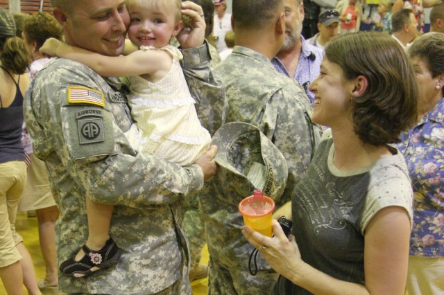 Soldiers from the 237th Engineer Company received a warm welcome home from family and friends after their welcome home ceremony at the West Point High School gym July 20. The 237th returned home to Virginia after having served in Iraq since September 2007.