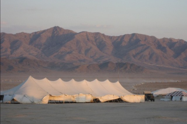 A tent houses trainees at the National