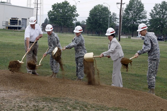 Frederick City Alderman Mr. Alan Imhoff; Col. W. Mueller, U.S. Army Corps of Engineers Baltimore District; Col. Judith Robinson, garrison commander, Fort Detrick; Ms. Julianna Albowicz, representing Senator Barbara Mikulski, D-Md.; and Col. Mark G. Kortepeter, U.S. Army Research Institute of Infectious Diseases symbolically break ground July 22 at the construction site for a new $30 million steam sterilization plant at Fort Detrick, Md.