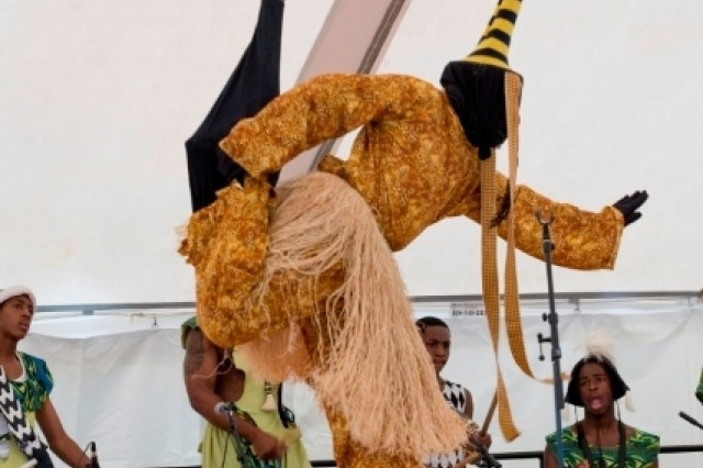 The Universal African Dance and Drum Ensemble performs at the annual Multicultural and Employee Day celebration here July 10.