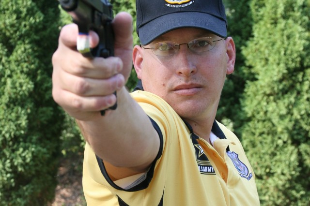 Staff Sgt. James M. Henderson took second place overall in the NRA National Pistol Championship July 10-13 and led the U.S. Army Marksmanship Unit to its first Service Pistol Team championship in 23 years.