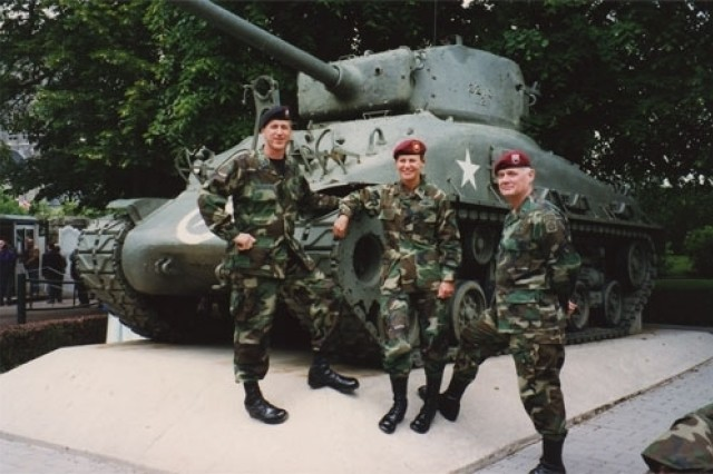 Lt. Col. Ann Dunwoody poses in Normandy, France in 1994 for the 50th Anniversary of the invasion of Europe.