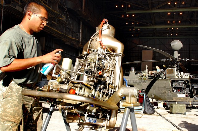 Procurement of depot level reparables, such as the Kiowa Warrior helicopter engine pictured here, is being transferred from separate DoD organizations to the Defense Logistics Agency under BRAC 2005.