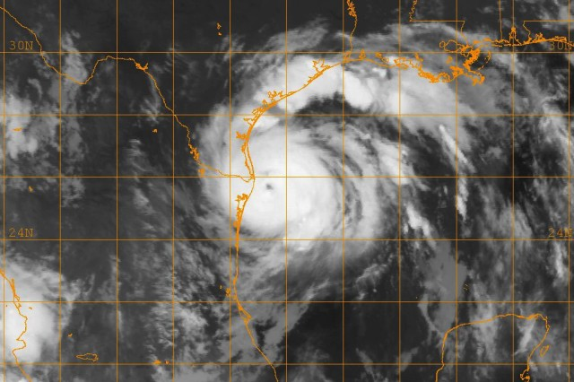 A GOES-12 infrared satellite image, provided by the U.S. Naval Research Laboratory at Monterey, Calif., shows the status of Hurricane Dolly at approximately 3:45 a.m. central standard time, Aug. 23, when it was a category 1, approaching the U.S./Mexico border near Brownsville, Texas.