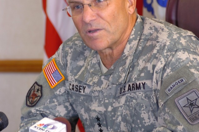 Gen. George W. Casey, Jr., the Army's Chief of Staff, fields questions from reporters at a press conference in the 1st Cavalry Division headquarters during his July 24 visit to Fort Hood, Texas.