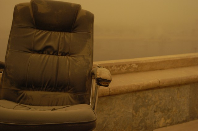A battered leather chair sits unattended atop Camp Victory's Al-Faw Palace, July 27, as a dust storm is in full swing in Baghdad. Dust storms are more prevalent in the area than in years past due to less-than-normal precipitation during Iraq's 2007/2008 wet season, which occurs during the fall and winter months.