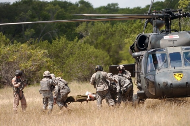Dark Horse medics carry a casualty onto a UH-60 Black Hawk during 4th Squadron, 9th Cavalry Regiment, 2nd Brigade Combat Team, 1st Cavalry's Air MEDEVAC at the EMFB site July 24.