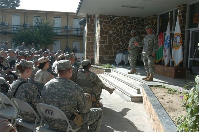 Sgt. Maj. of the Army Kenneth O. Preston speaks to a group of Soldiers, Sailors and Airmen at Camp Eggers, Afghanistan. Preston visited Soldiers in Bagram, Kabul, Salerno, Jalabad and Kandahar. ""
