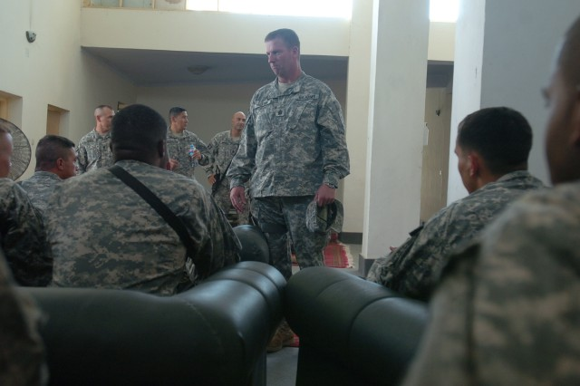 Sgt. Maj. of the Army Kenneth O. Preston speaks to a group of Soldiers at FOB Fenty, Afghanistan. Preston attended the transfer-of-authority ceremony for Task Force Bayonet, 173rd Airborne Brigade Combat Team as they were replaced by Task Force Duke, 1st Infantry Division, 3rd Brigade.