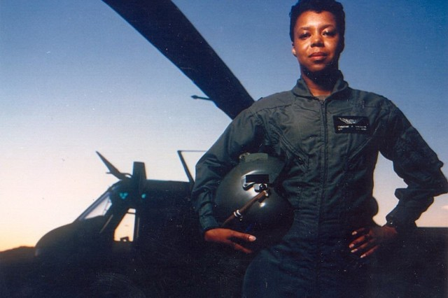 """Army Aviation pioneer and then-Capt. Christine B. """"Nickey"""" Knighton was in 1980 the second black woman to complete aviation training within the Department of Defense."""