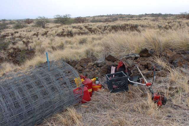POHAKULOA TRAINING AREA, Hawaii - Fencing material and gas-powered weedeaters are just several tools used by PTA volunteers in controlling wildland fires and roaming wild goats in the area during the Waikoloa Dry Forest Recovery Project day activity.