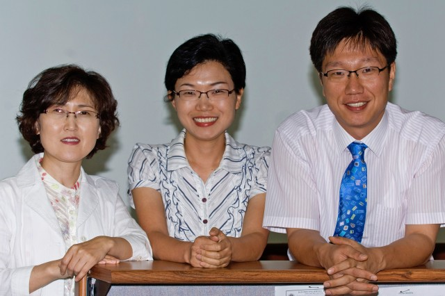 (From left) Yi Haeng-sim, Kim Kyong-yim and Yo Chin-ho work at the USAG-Yongsan Directorate of Resource Management and recently earned the American Society of Military Comptrollers Certified Defense Financial Manager certification. The certification signifies a mastery in resource and financial management.