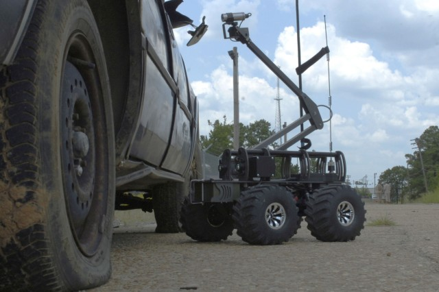 The MARCbot IV extends its camera nearly four feet in the air to search for suspected improvised explosive devices at the training course in Fort Polk, La. Paratroopers of the 3rd Brigade Combat Team will have the opportunity use this tool in their upcoming deployment in support of the war on terror.