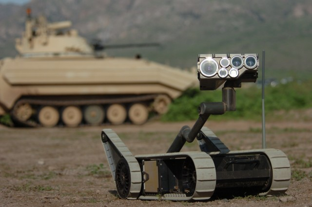 The SUGV, or Small Unmanned Ground Vehicle, takes a look around Doña Ana Range Complex, N.M., July 30, during a three-day training exercise conducted by Soldiers of the 2nd Combined Arms Battalion to test the experimental technologies of the Army Future Combat Systems.